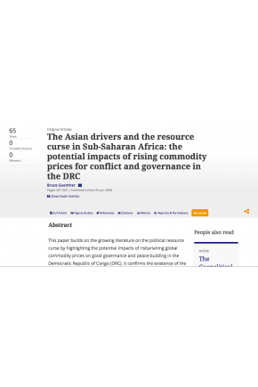 The Asian Drivers and the Resource Curse in Sub-Saharan Africa: The Potential Impacts of Rising Commodity Prices for Conflict and Governance in the DRC