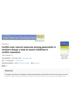 Conflict over Natural Resources among Pastoralists in Northern Kenya: A Look at Recent Initiatives in Conflict Resolution