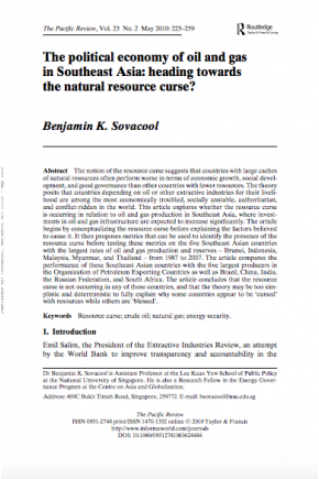 The Political Economy of Oil and Gas in Southeast Asia: Heading towards the Natural Resource Curse?