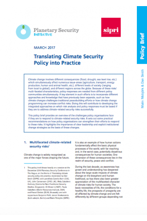Translating Climate Security Policy into Practice
