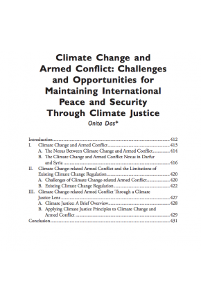 Climate Change and Armed Conflict: Challenges and Opportunities for Maintaining International Peace and Security through Climate Justice