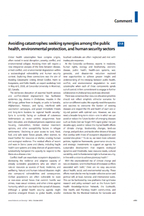 Avoiding Catastrophes: Seeking Synergies among the Public Health, Environmental Protection, and Human Security Sectors