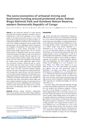 The Socio-Economics of Artisanal Mining and Bushmeat Hunting around Protected Areas: Kahuzi–Biega National Park and Itombwe Nature Reserve, Eastern Democratic Republic of Congo