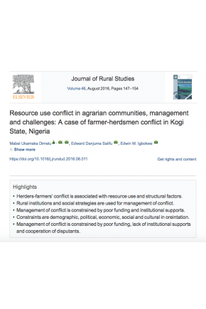 Resource Use Conflict in Agrarian Communities, Management and Challenges: A Case of Farmer-Herdsmen Conflict in Kogi State, Nigeria
