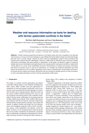 Weather and Resource Information as Tools for Dealing with Farmer-Pastoralist Conflicts in the Sahel