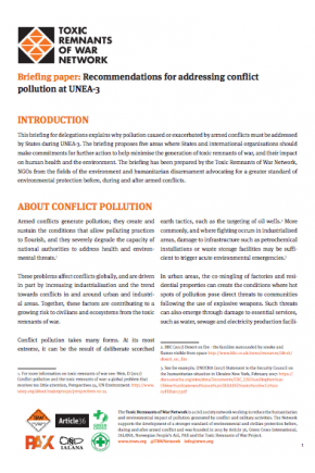 Briefing Paper: Recommendations for Addressing Conflict Pollution at UNEA-3