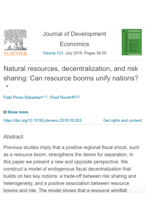 Natural Resources, Decentralization, and Risk Sharing: Can Resource Booms Unify Nations?