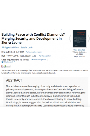 Building Peace with Conflict Diamonds? Merging Security and Development in Sierra Leone