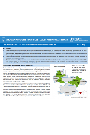 Ghor and Badghis Provinces—Locust Infestation Assessment (Bulletin #1)