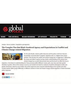The Complex Ties That Bind: Gendered Agency and Expectations in Conflict and Climate Change-Related Migration