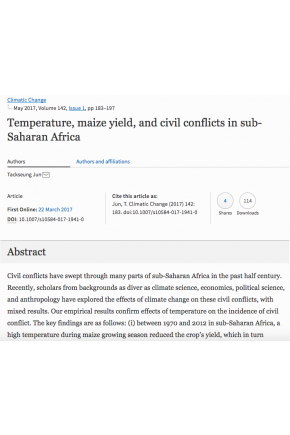Temperature, Maize Yield, and Civil Conflicts in Sub-Saharan Africa