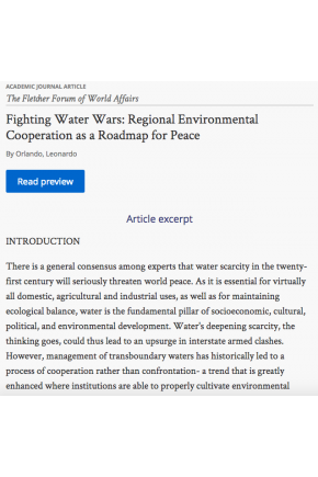 Fighting Water Wars: Regional Environmental Cooperation as a Roadmap for Peace