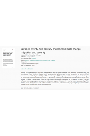 Europe's Twenty‑first Century Challenge: Climate Change, Migration and Security