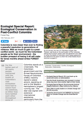 Ecologist Special Report: Ecological Conservation in Post-Conflict Colombia