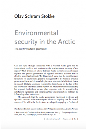 Environmental Security in the Arctic: The Case for Muiltilevel Governance