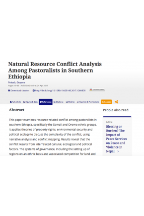 Natural Resource Conflict Analysis Among Pastoralists in Southern Ethiopia