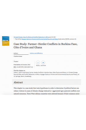Case Study: Farmer–Herder Conflicts in Burkina Faso, Côte d'Ivoire and Ghana