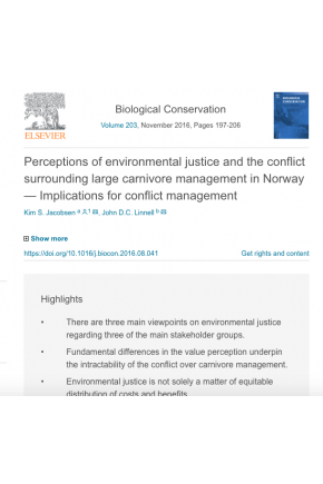 Perceptions of Environmental Justice and the Conflict Surrounding Large Carnivore Management in Norway — Implications for Conflict Management