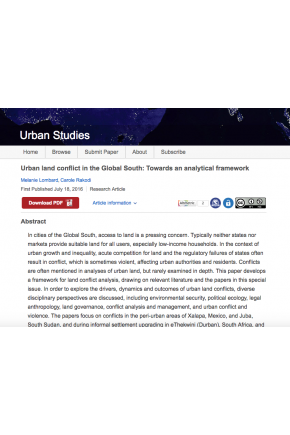 Urban Land Conflict in the Global South: Towards an Analytical Framework