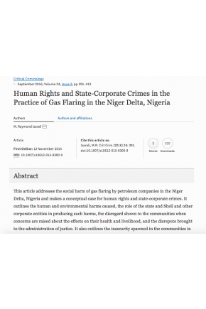 Human Rights and State-Corporate Crimes in the Practice of Gas Flaring in the Niger Delta, Nigeria