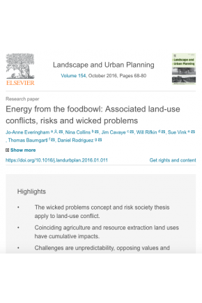 Energy from the Foodbowl: Associated Land-Use Conflicts, Risks and Wicked Problems