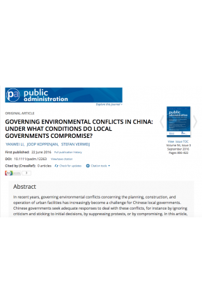 Governing Environmental Conflicts in China: Under What Conditions do Local Governments Compromise?