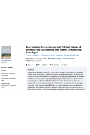 Incorporating Socioeconomic and Political Drivers of International Collaboration into Marine Conservation Planning