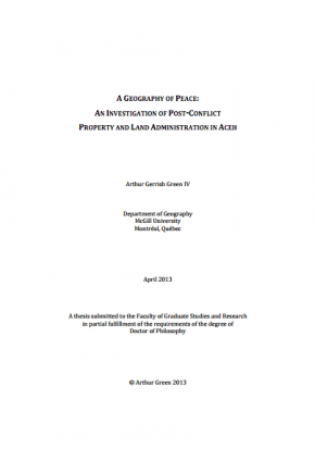 A Geography of Peace: An Investigation of Post-conflict Property and Land Administration in Aceh