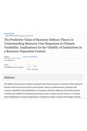 The Predictive Value of Resource Defence Theory in Understanding Resource User Responses to Climatic Variability: Implications for the Viability of Institutions in a Resource Dependent Context