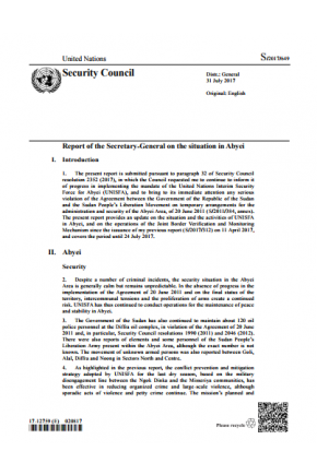 Report of the Secretary-General on the Situation in Abyei