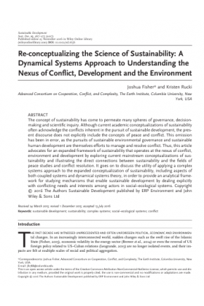 Re-conceptualizing the Science of Sustainability: A Dynamical Systems Approach to Understanding the Nexus of Conflict, Development and the Environment
