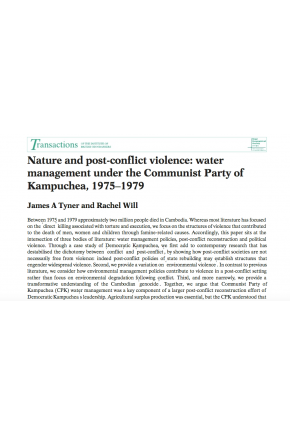 Nature and Post-Conflict Violence: Water Management under the Communist Party of Kampuchea, 1975–1979
