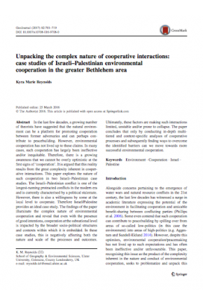 Unpacking the Complex Nature of Cooperative Interactions: Case Studies of Israeli–Palestinian Environmental Cooperation in the Greater Bethlehem Area