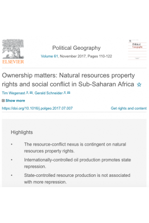 Ownership Matters: Natural Resources Property Rights and Social Conflict in Sub-Saharan Africa