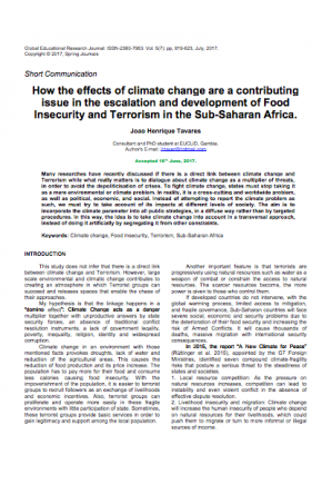 How the Effects of Climate Change are a Contributing Issue in the Escalation and Development of Food Insecurity and Terrorism in Sub-Saharan Africa