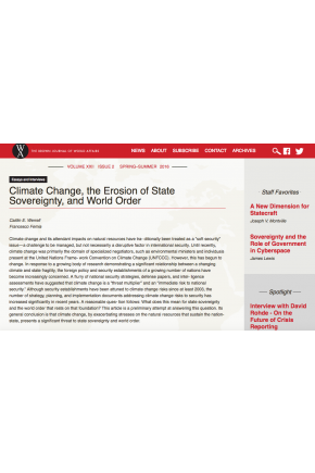 Climate Change, the Erosion of State Sovereignty, and World Order
