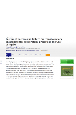 Factors of Success and Failure for Transboundary Environmental Cooperation: Projects in the Gulf of Aqaba