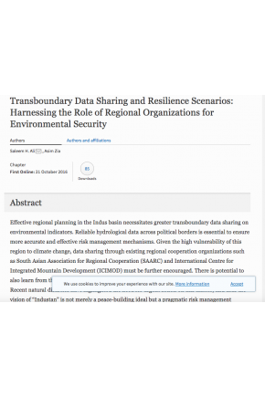 Transboundary Data Sharing and Resilience Scenarios: Harnessing the Role of Regional Organizations for Environmental Security