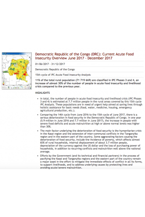 Democratic Republic of the Congo (DRC): Current Acute Food Insecurity Overview June 2017 - December 2017