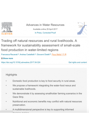 Trading off Natural Resources and Rural Livelihoods: A Framework for Sustainability Assessment of Small-Scale Food Production in Water-Limited Regions