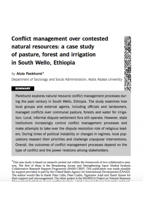 Conflict Management over Contested Natural Resources: A Case Study of Pasture, Forest and Irrigation in South Wello, Ethiopia