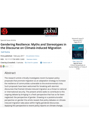 Gendering Resilience: Myths and Stereotypes in the Discourse on Climate-induced Migration