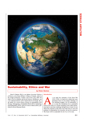 Sustainability, Ethics and War