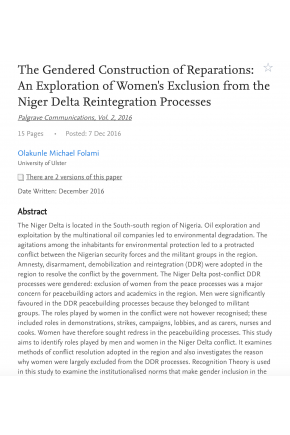 The Gendered Construction of Reparations: An Exploration of Women's Exclusion from the Niger Delta Reintegration Processes