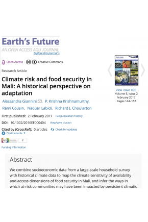 Climate Risk and Food Security in Mali: A Historical Perspective on Adaptation