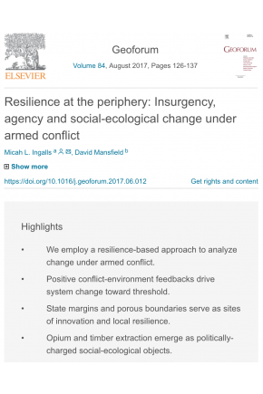 Resilience at the Periphery: Insurgency, Agency and Social-Ecological Change under Armed Conflict