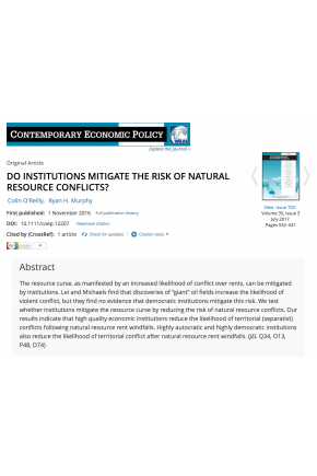 Do Institutions Mitigate the Risk of  Natural Resource Conflicts