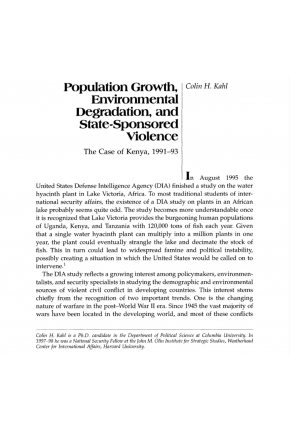 Population Growth, Environmental Degradation, and State-Sponsored Violence: The Case of Kenya, 1991-93