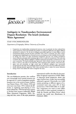 Ambiguity in Transboundary Environmental Dispute Resolution: The Israeli-Jordanian Water Agreement