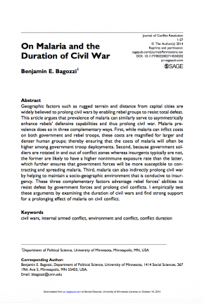 On Malaria and the Duration of Civil War